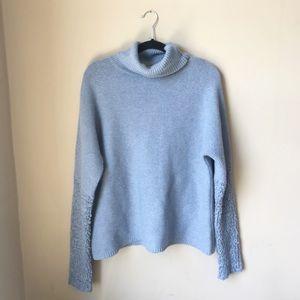 Sundance Blue Knit Wool Blend Turtleneck Sweater